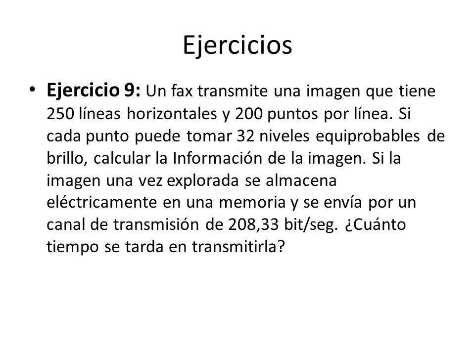Ejercicios Ejercicio 9: Un fax transmite una imagen que tiene 250 líneas horizontales y 200 puntos por línea. Si cada punto puede tomar 32 niveles equ