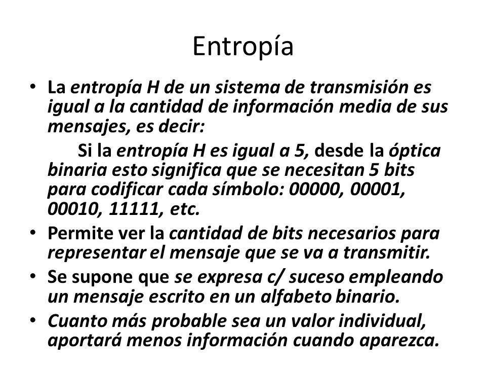 Entropía La entropía H de un sistema de transmisión es igual a la cantidad de información media de sus mensajes, es decir: Si la entropía H es igual a