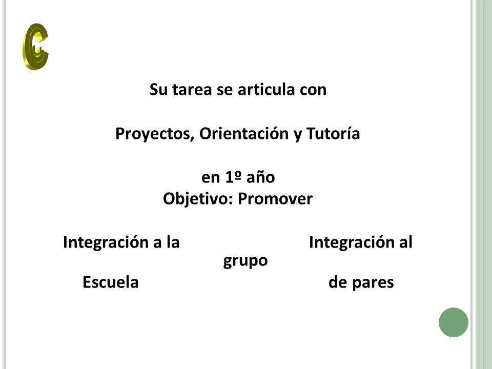 Su tarea se articula con Proyectos, Orientación y Tutoría en 1º año Objetivo: Promover Integración a laIntegración al grupo Escuelade pares