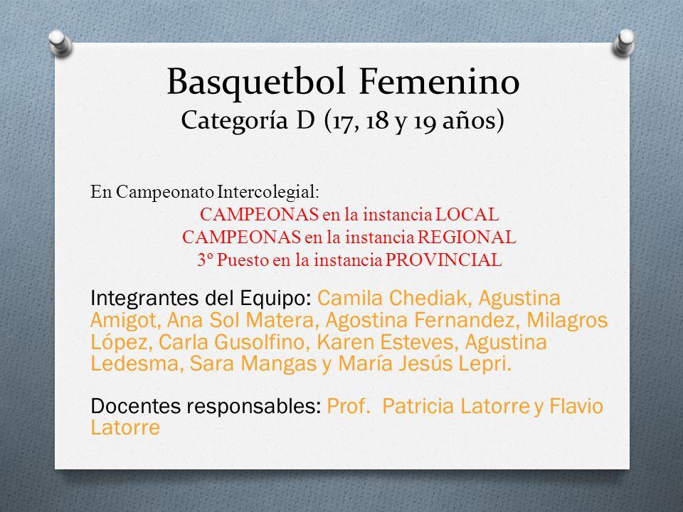 Basquetbol Femenino Categoría D (17, 18 y 19 años) En Campeonato Intercolegial: CAMPEONAS en la instancia LOCAL CAMPEONAS en la instancia REGIONAL 3º