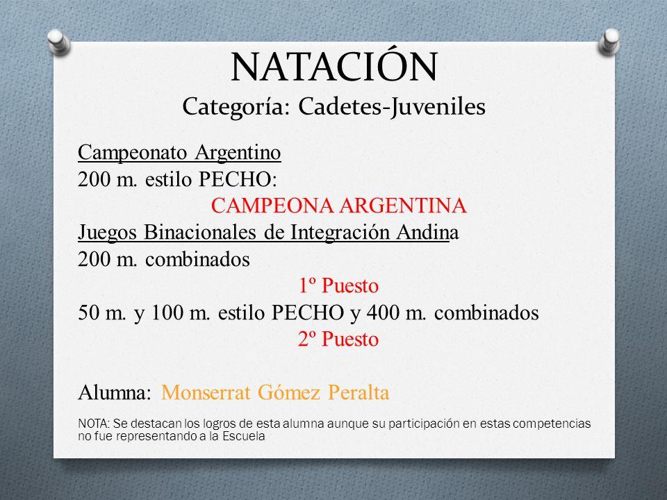 NATACIÓN Categoría: Cadetes-Juveniles Campeonato Argentino 200 m. estilo PECHO: CAMPEONA ARGENTINA Juegos Binacionales de Integración Andina 200 m. co