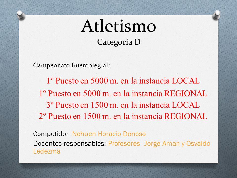 Atletismo Categoría D Campeonato Intercolegial: 1º Puesto en 5000 m. en la instancia LOCAL 1º Puesto en 5000 m. en la instancia REGIONAL 3º Puesto en