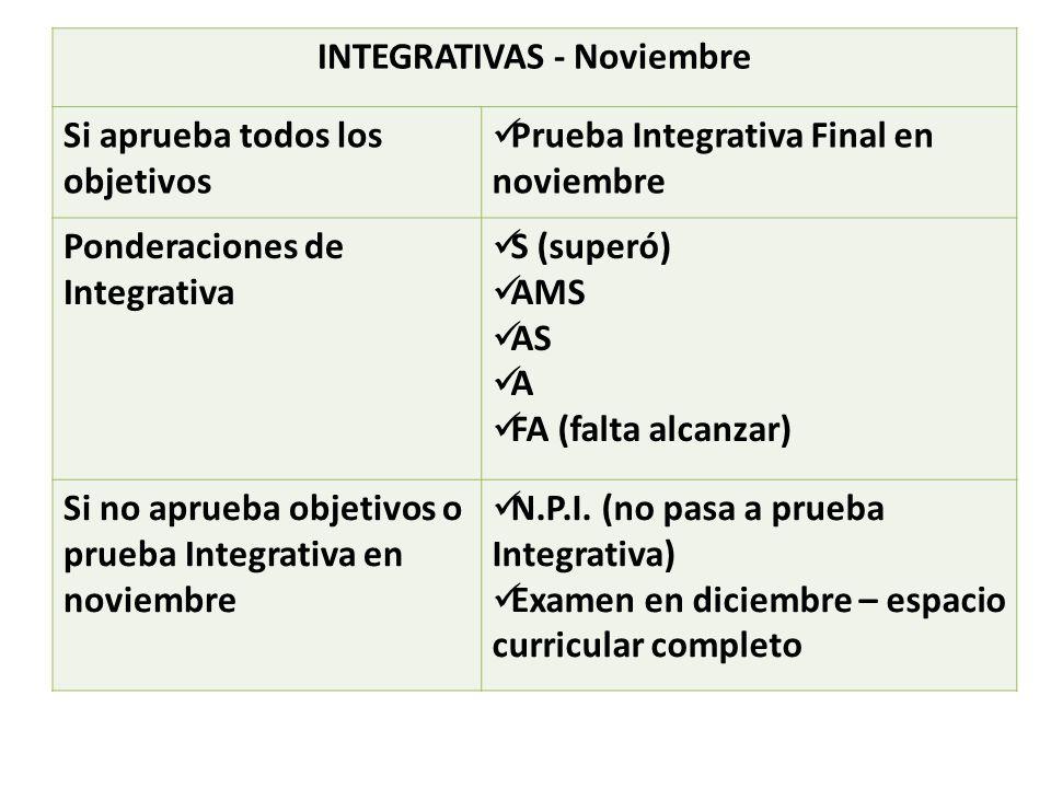 INTEGRATIVAS - Noviembre Si aprueba todos los objetivos Prueba Integrativa Final en noviembre Ponderaciones de Integrativa S (superó) AMS AS A FA (falta alcanzar) Si no aprueba objetivos o prueba Integrativa en noviembre N.P.I.