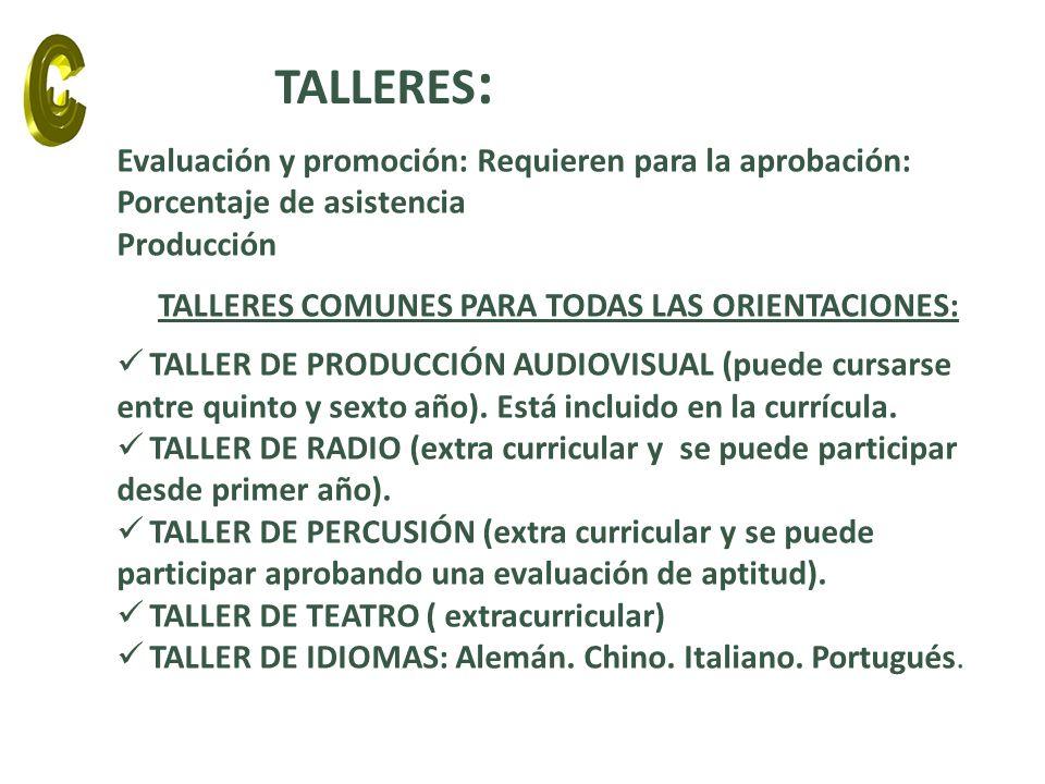 Evaluación y promoción: Requieren para la aprobación: Porcentaje de asistencia Producción TALLERES COMUNES PARA TODAS LAS ORIENTACIONES: TALLER DE PRO