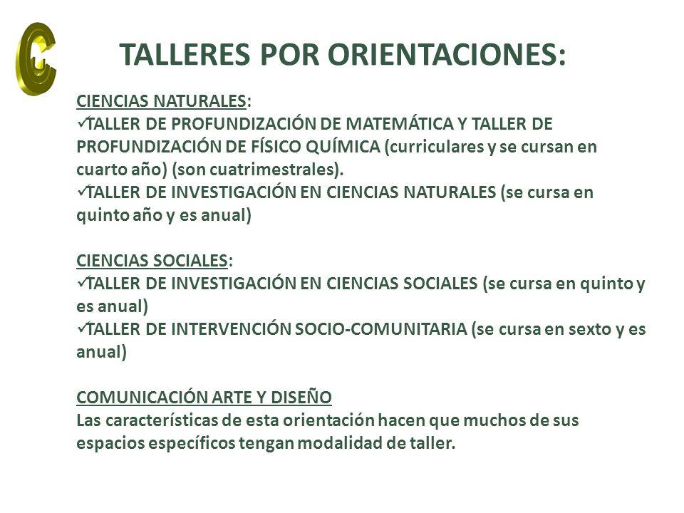 CIENCIAS NATURALES: TALLER DE PROFUNDIZACIÓN DE MATEMÁTICA Y TALLER DE PROFUNDIZACIÓN DE FÍSICO QUÍMICA (curriculares y se cursan en cuarto año) (son cuatrimestrales).