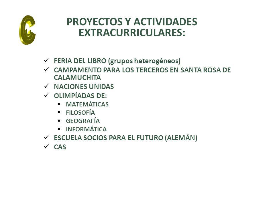 FERIA DEL LIBRO (grupos heterogéneos) CAMPAMENTO PARA LOS TERCEROS EN SANTA ROSA DE CALAMUCHITA NACIONES UNIDAS OLIMPÍADAS DE: MATEMÁTICAS FILOSOFÍA GEOGRAFÍA INFORMÁTICA ESCUELA SOCIOS PARA EL FUTURO (ALEMÁN) CAS PROYECTOS Y ACTIVIDADES EXTRACURRICULARES: