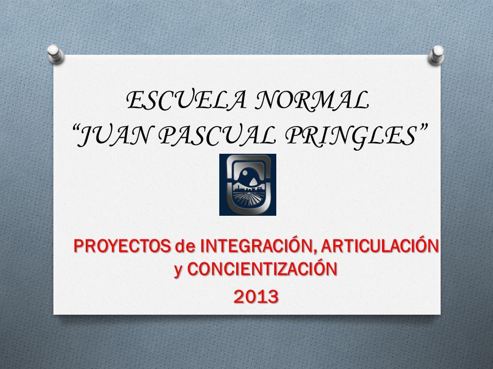 ESCUELA NORMAL JUAN PASCUAL PRINGLES PROYECTOS de INTEGRACIÓN, ARTICULACIÓN y CONCIENTIZACIÓN 2013