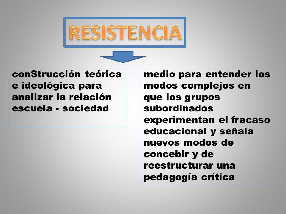 La resistencia debe ser una sistematización teórica que proporcione un nuevo marco de referencia para el estudio de las escuelas como ámbitos sociales que estructuran la experiencia de los grupos subordinados.