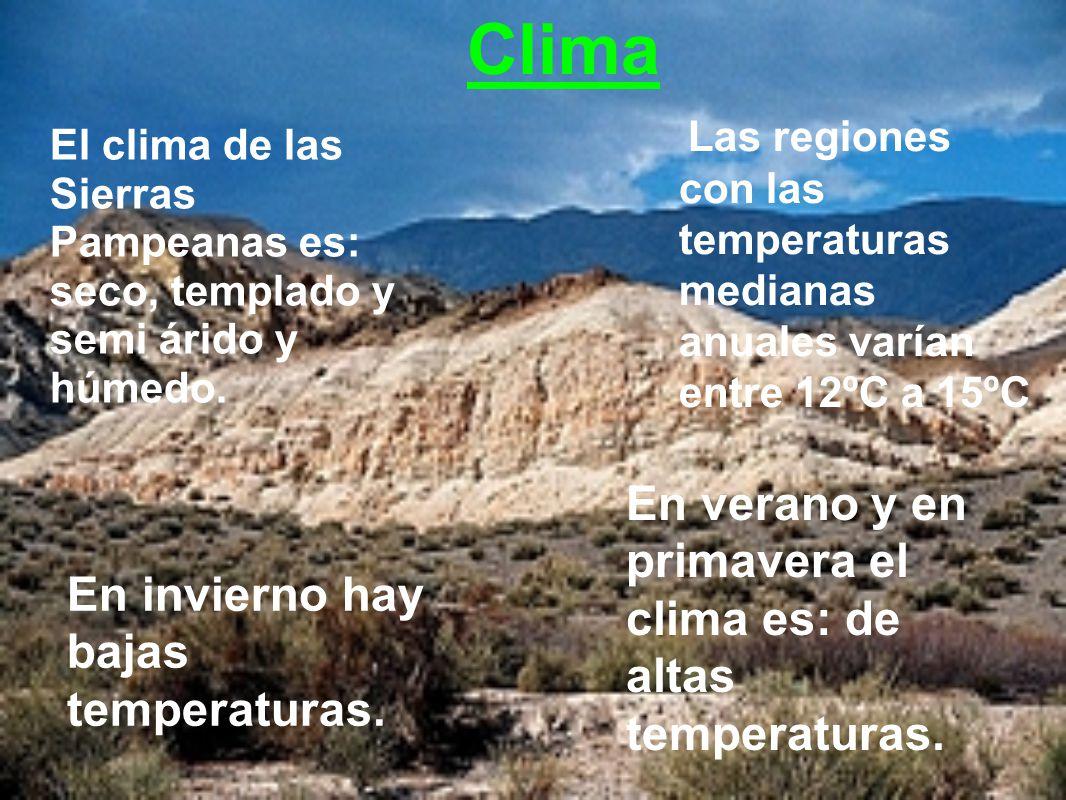 Las regiones con las temperaturas medianas anuales varían entre 12ºC a 15ºC El clima de las Sierras Pampeanas es: seco, templado y semi árido y húmedo