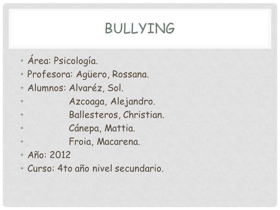 BULLYING Área: Psicología.Profesora: Agüero, Rossana.