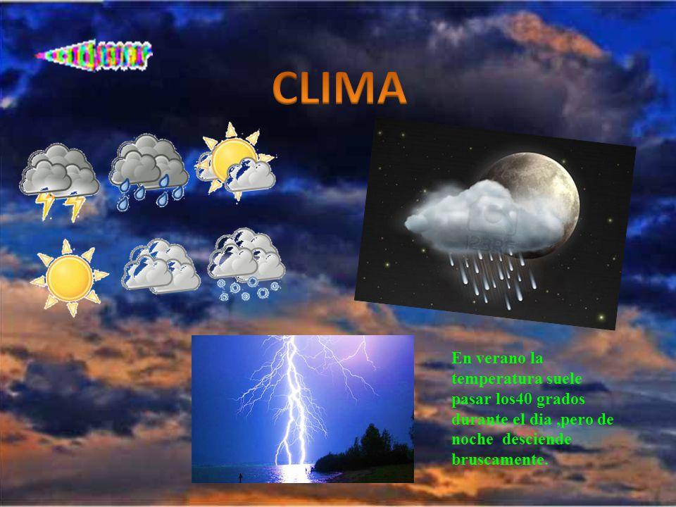 En verano la temperatura suele pasar los40 grados durante el dia,pero de noche desciende bruscamente.