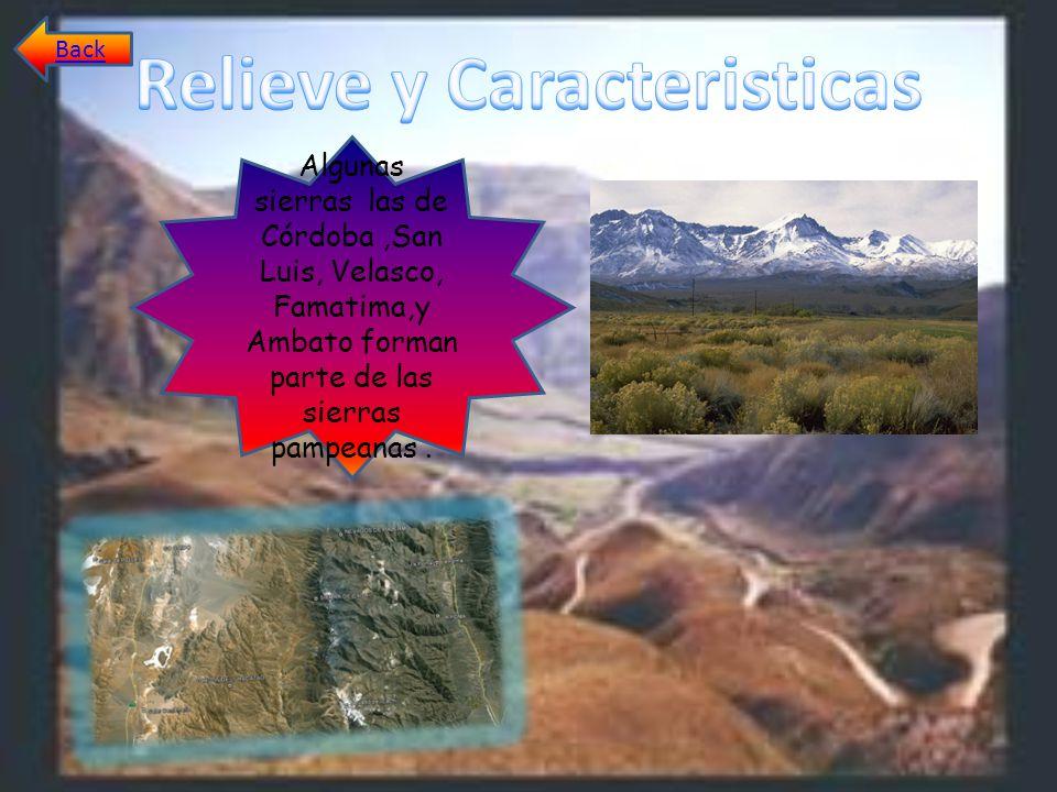 Algunas sierras las de Córdoba,San Luis, Velasco, Famatima,y Ambato forman parte de las sierras pampeanas. Back
