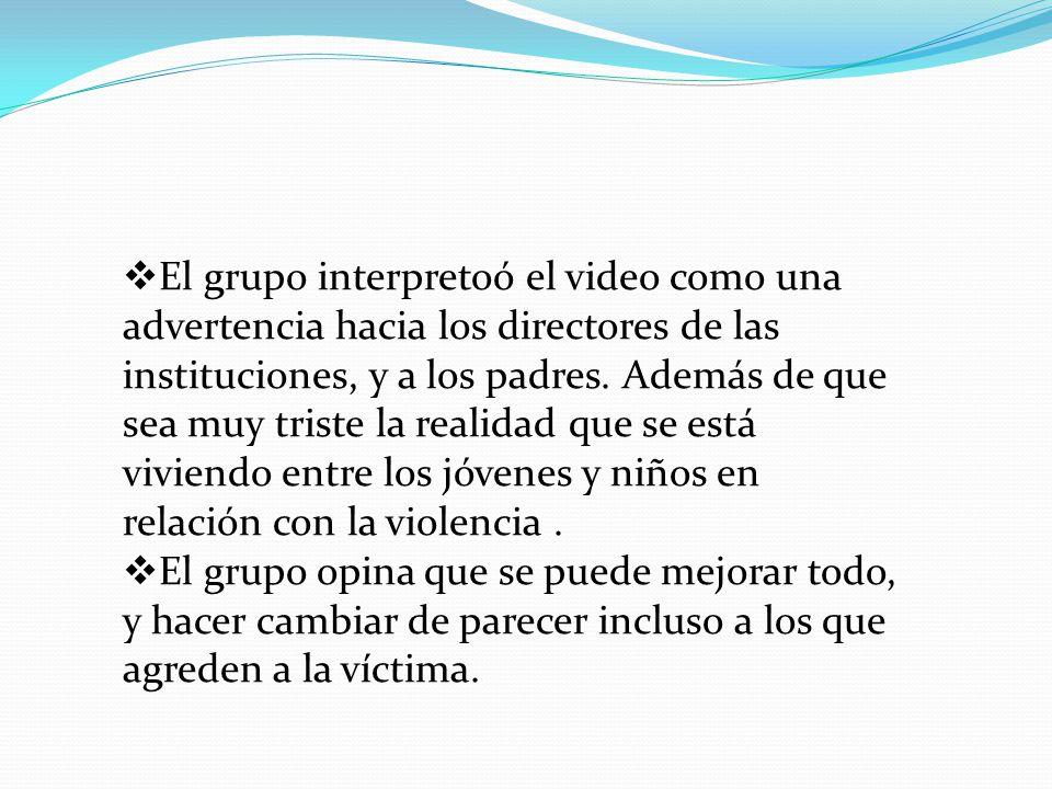 Punto de retorno (corto metraje): cuando los directivos de la institución se enteraron de lo ocurrido y quienes eran los que provocaban a Sergio, tomaron medidas necesarias como para parar ese bullying.
