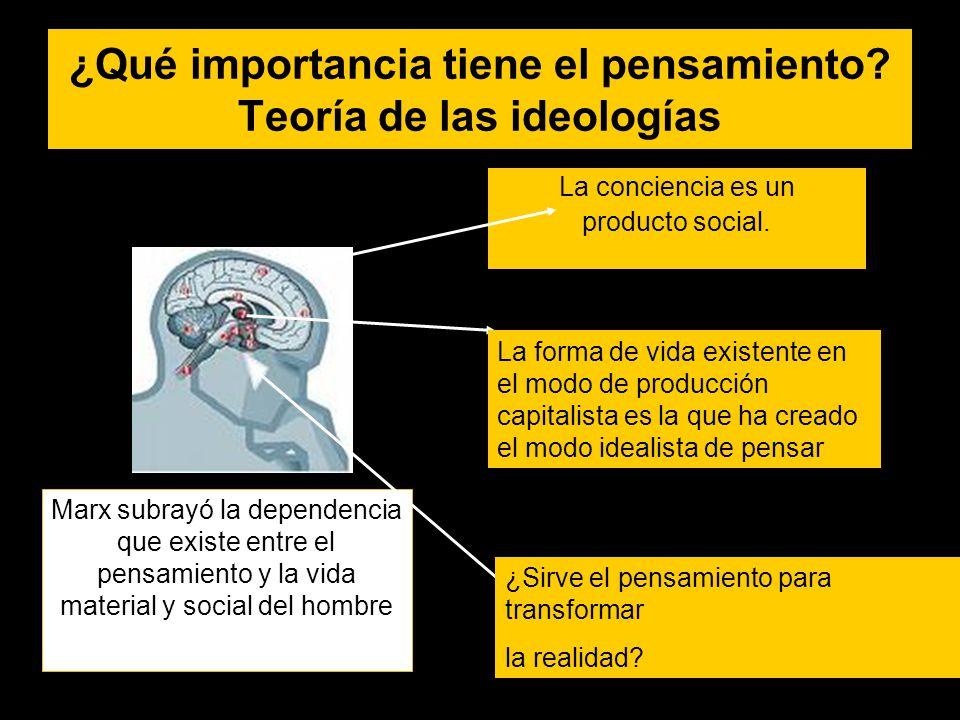 ¿Qué importancia tiene el pensamiento? Teoría de las ideologías La conciencia es un producto social. Marx subrayó la dependencia que existe entre el p