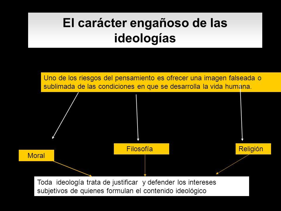 El carácter engañoso de las ideologías Uno de los riesgos del pensamiento es ofrecer una imagen falseada o sublimada de las condiciones en que se desa