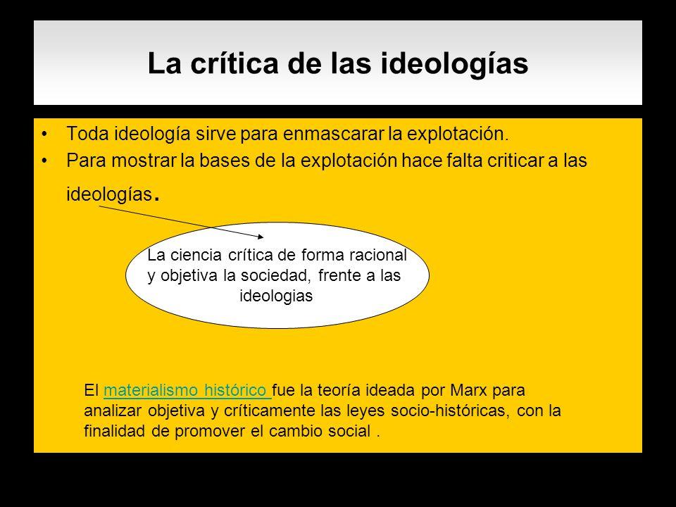 La crítica de las ideologías Toda ideología sirve para enmascarar la explotación. Para mostrar la bases de la explotación hace falta criticar a las id