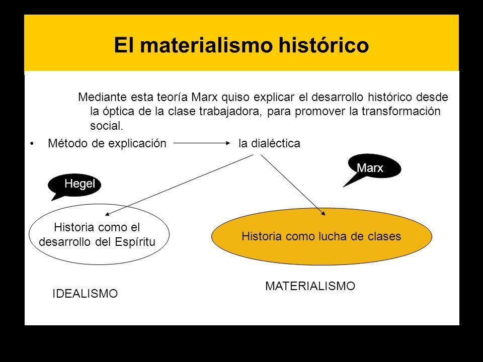 El materialismo histórico Mediante esta teoría Marx quiso explicar el desarrollo histórico desde la óptica de la clase trabajadora, para promover la t