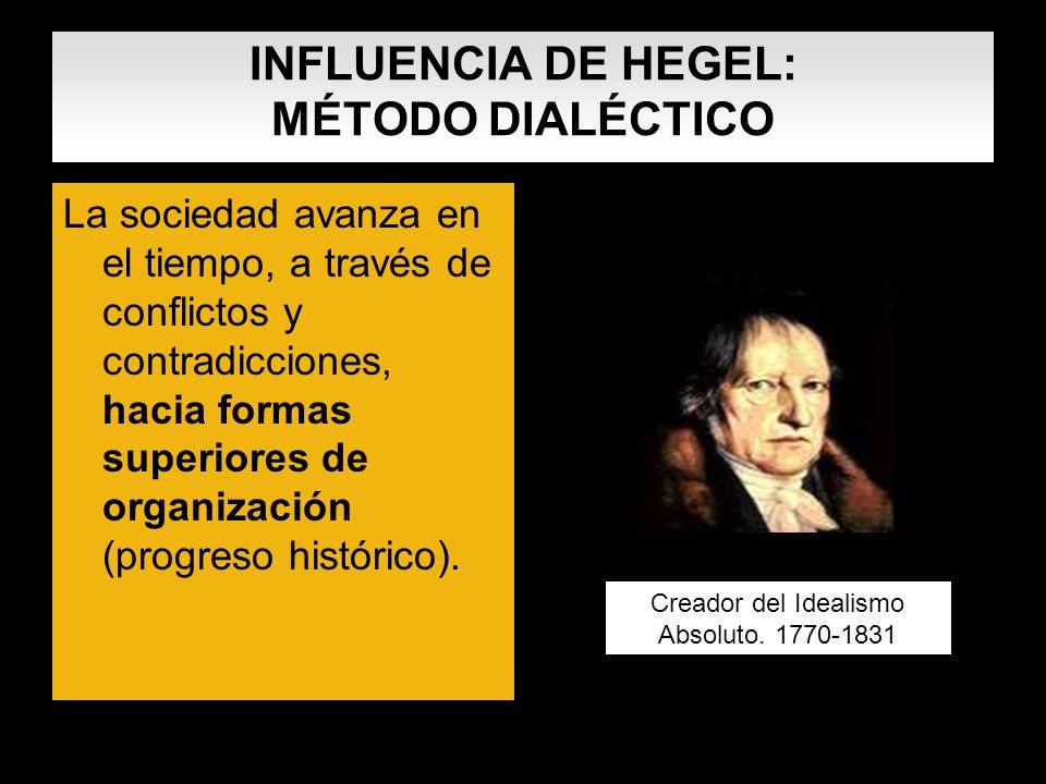 INFLUENCIA DE HEGEL: MÉTODO DIALÉCTICO La sociedad avanza en el tiempo, a través de conflictos y contradicciones, hacia formas superiores de organizac