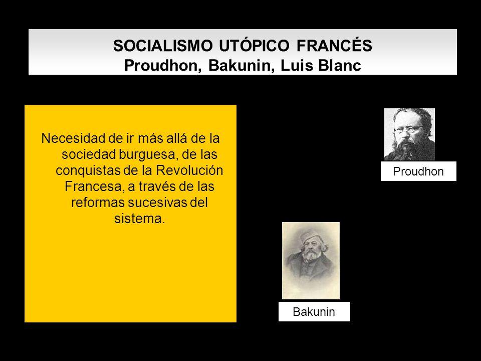 SOCIALISMO UTÓPICO FRANCÉS Proudhon, Bakunin, Luis Blanc Necesidad de ir más allá de la sociedad burguesa, de las conquistas de la Revolución Francesa