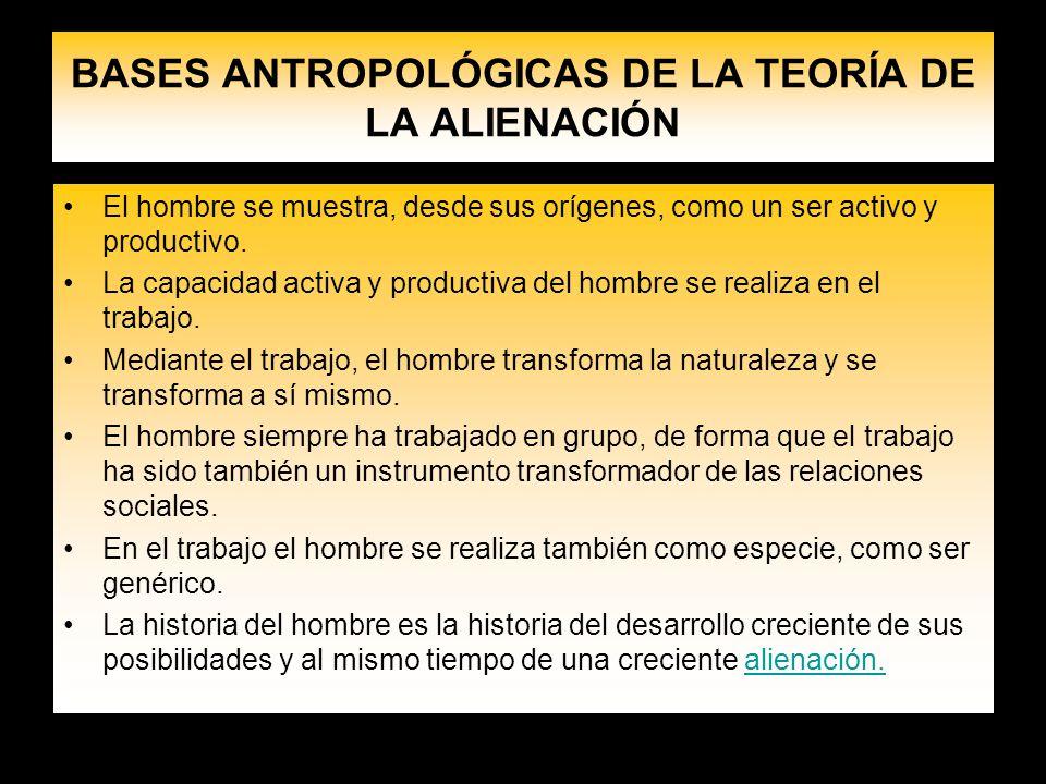 BASES ANTROPOLÓGICAS DE LA TEORÍA DE LA ALIENACIÓN El hombre se muestra, desde sus orígenes, como un ser activo y productivo. La capacidad activa y pr