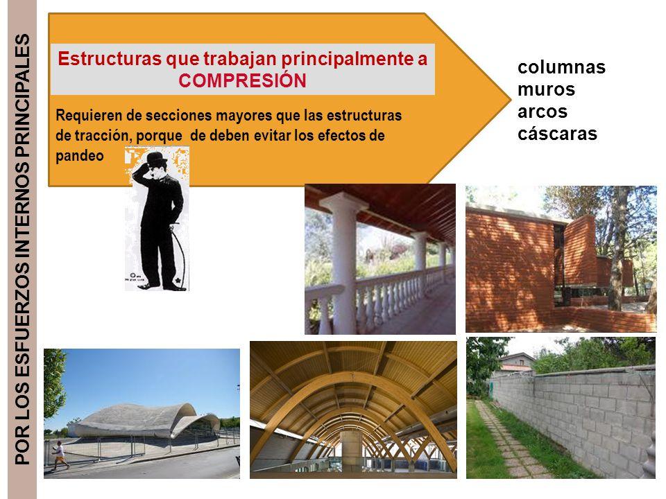 POR LOS ESFUERZOS INTERNOS PRINCIPALES Estructuras que trabajan principalmente a COMPRESIÓN columnas muros arcos cáscaras Requieren de secciones mayor