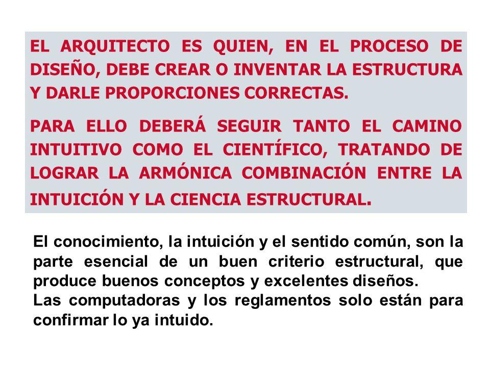 EL ARQUITECTO ES QUIEN, EN EL PROCESO DE DISEÑO, DEBE CREAR O INVENTAR LA ESTRUCTURA Y DARLE PROPORCIONES CORRECTAS. PARA ELLO DEBERÁ SEGUIR TANTO EL