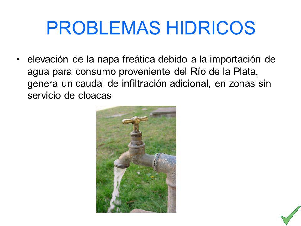 elevación de la napa freática debido a la importación de agua para consumo proveniente del Río de la Plata, genera un caudal de infiltración adicional