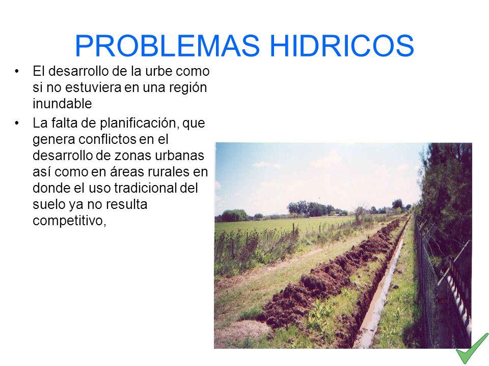 PROBLEMAS HIDRICOS El desarrollo de la urbe como si no estuviera en una región inundable La falta de planificación, que genera conflictos en el desarr