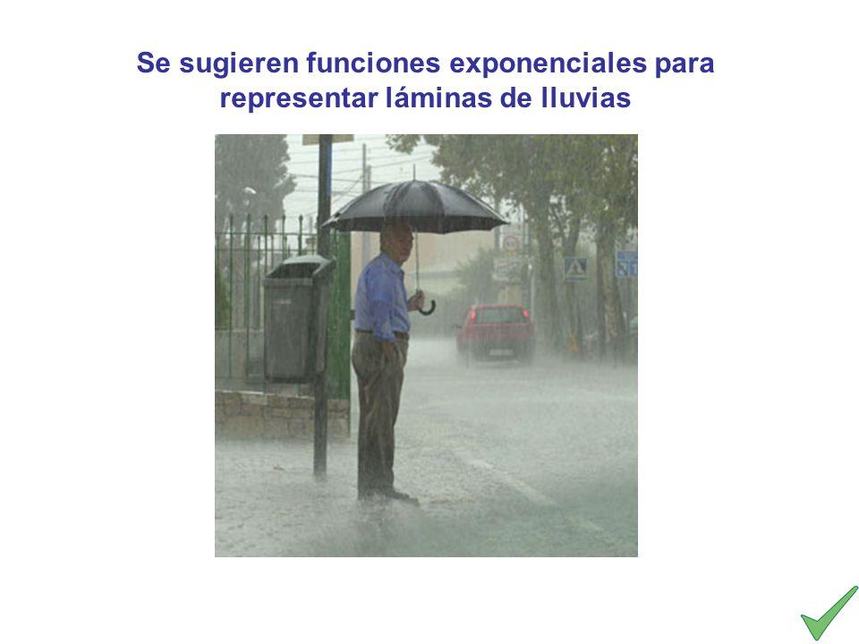 Se sugieren funciones exponenciales para representar láminas de lluvias