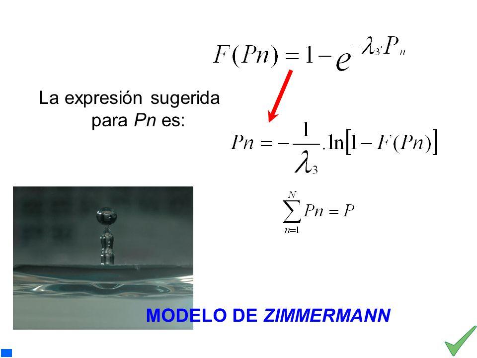 La expresión sugerida para Pn es: Pn representa una precipitación aislada, para valores de n comprendidos entre 1 y N. MODELO DE ZIMMERMANN