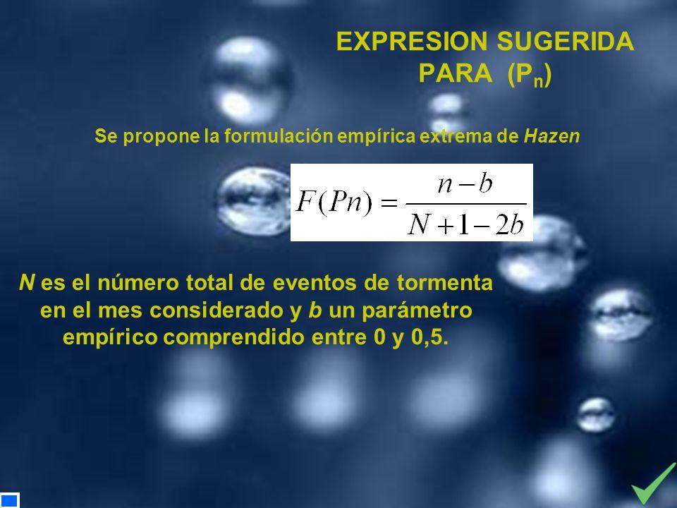 Se propone la formulación empírica extrema de Hazen EXPRESION SUGERIDA PARA (P n ) N es el número total de eventos de tormenta en el mes considerado y