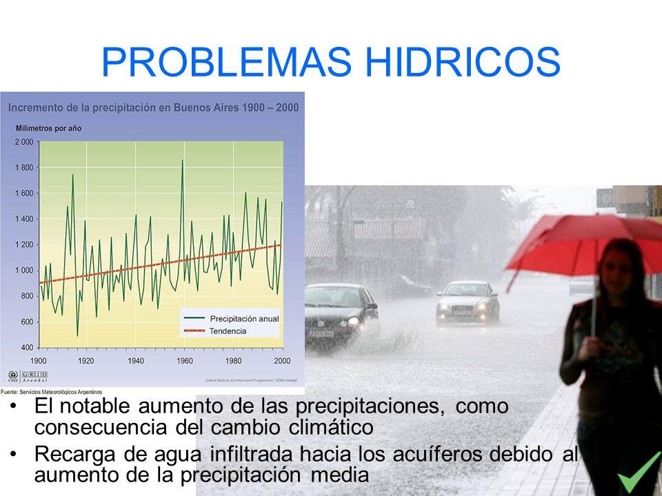 PROBLEMAS HIDRICOS El notable aumento de las precipitaciones, como consecuencia del cambio climático Recarga de agua infiltrada hacia los acuíferos de