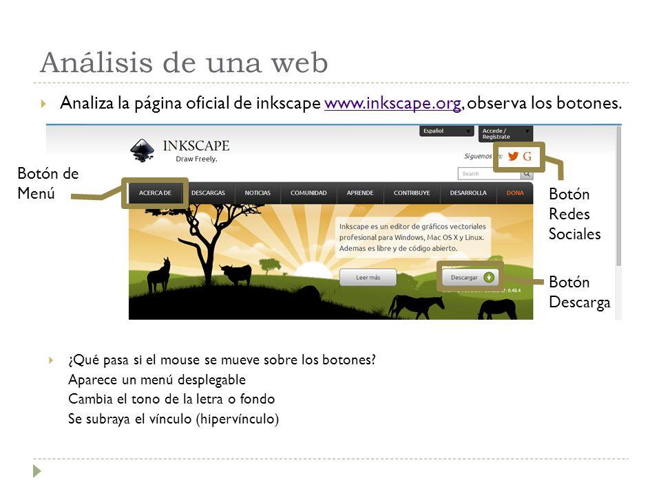 Análisis de una web Analiza la página oficial de inkscape www.inkscape.org, observa los botones.www.inkscape.org Botón de Menú Botón Descarga Botón Redes Sociales ¿Qué pasa si el mouse se mueve sobre los botones.