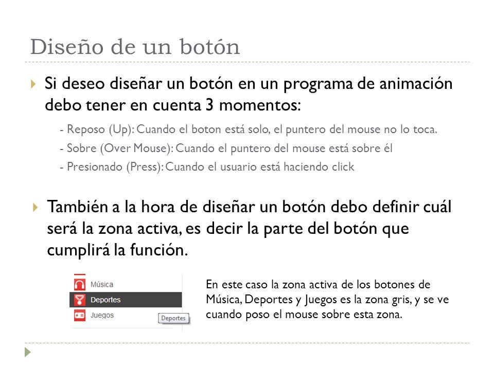 Diseño de un botón Si deseo diseñar un botón en un programa de animación debo tener en cuenta 3 momentos: - Reposo (Up): Cuando el boton está solo, el puntero del mouse no lo toca.