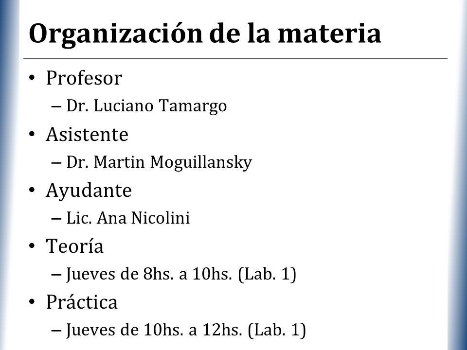 XP Organización de la materia Profesor – Dr. Luciano Tamargo Asistente – Dr. Martin Moguillansky Ayudante – Lic. Ana Nicolini Teoría – Jueves de 8hs.
