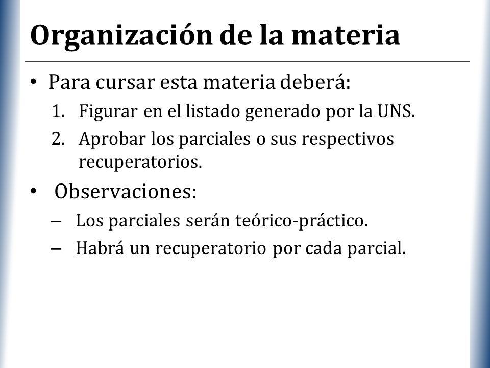 XP Organización de la materia Para cursar esta materia deberá: 1.Figurar en el listado generado por la UNS. 2.Aprobar los parciales o sus respectivos