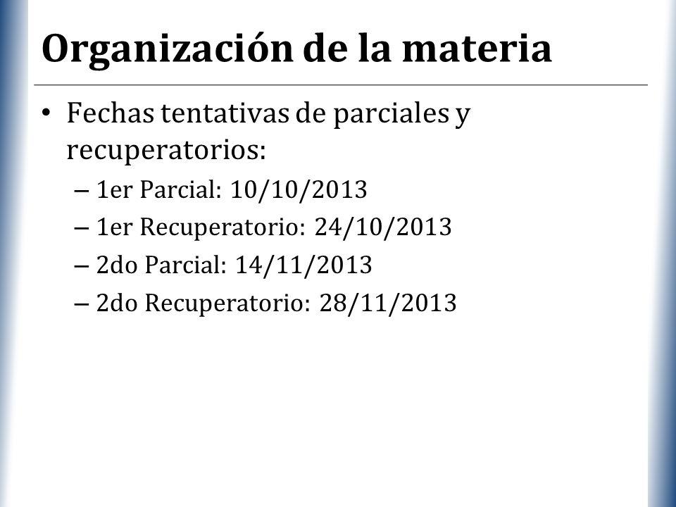 XP Organización de la materia Fechas tentativas de parciales y recuperatorios: – 1er Parcial: 10/10/2013 – 1er Recuperatorio: 24/10/2013 – 2do Parcial