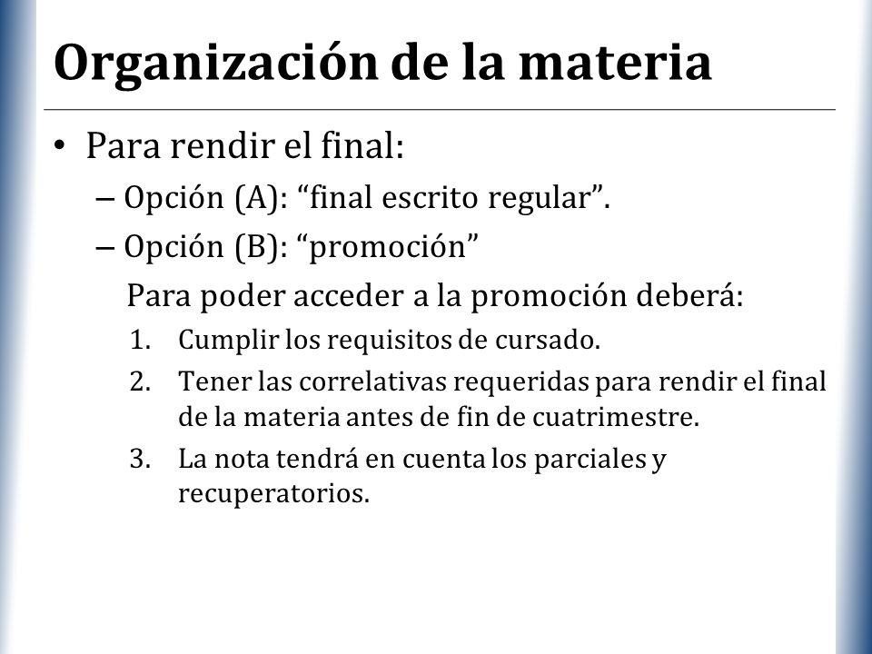 XP Organización de la materia Para rendir el final: – Opción (A): final escrito regular. – Opción (B): promoción Para poder acceder a la promoción deb