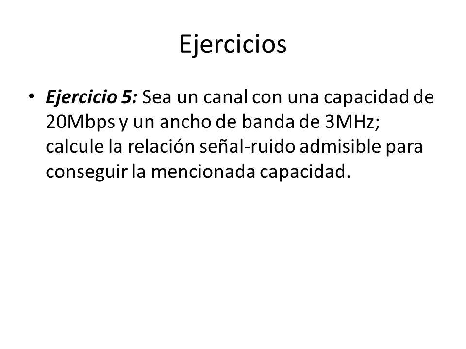 Ejercicios Ejercicio 5: Sea un canal con una capacidad de 20Mbps y un ancho de banda de 3MHz; calcule la relación señal-ruido admisible para conseguir