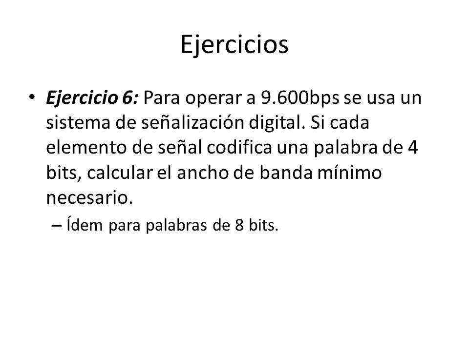 Ejercicios Ejercicio 6: Para operar a 9.600bps se usa un sistema de señalización digital. Si cada elemento de señal codifica una palabra de 4 bits, ca
