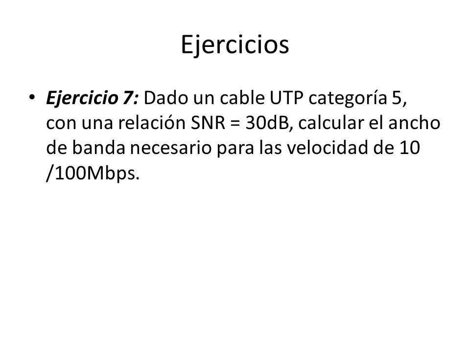 Ejercicios Ejercicio 7: Dado un cable UTP categoría 5, con una relación SNR = 30dB, calcular el ancho de banda necesario para las velocidad de 10 /100