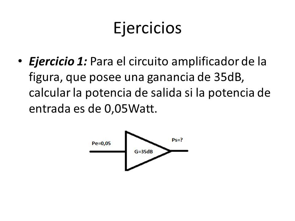 Ejercicios Ejercicio 1: Para el circuito amplificador de la figura, que posee una ganancia de 35dB, calcular la potencia de salida si la potencia de e