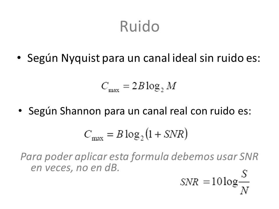Según Nyquist para un canal ideal sin ruido es: Según Shannon para un canal real con ruido es: Para poder aplicar esta formula debemos usar SNR en vec