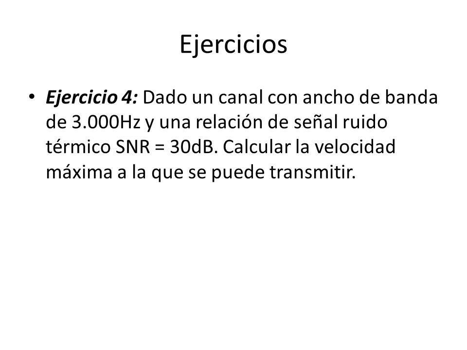 Ejercicios Ejercicio 4: Dado un canal con ancho de banda de 3.000Hz y una relación de señal ruido térmico SNR = 30dB. Calcular la velocidad máxima a l