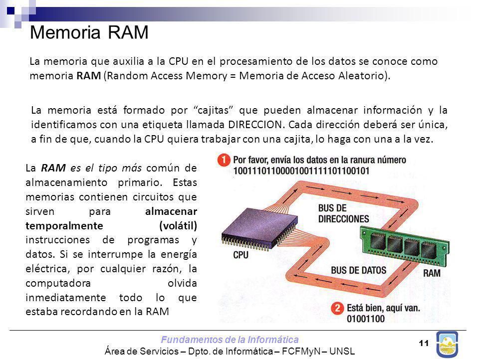 Fundamentos de la Informática Área de Servicios – Dpto. de Informática – FCFMyN – UNSL 11 Memoria RAM La memoria está formado por cajitas que pueden a
