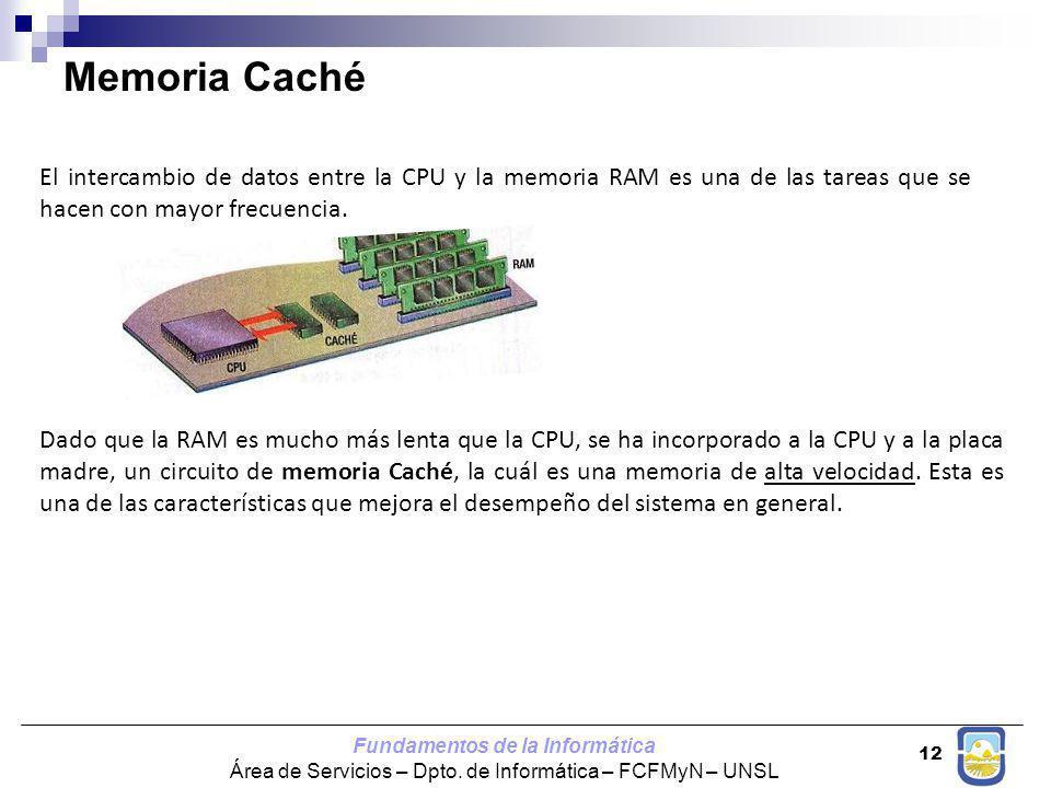 Fundamentos de la Informática Área de Servicios – Dpto. de Informática – FCFMyN – UNSL 12 El intercambio de datos entre la CPU y la memoria RAM es una