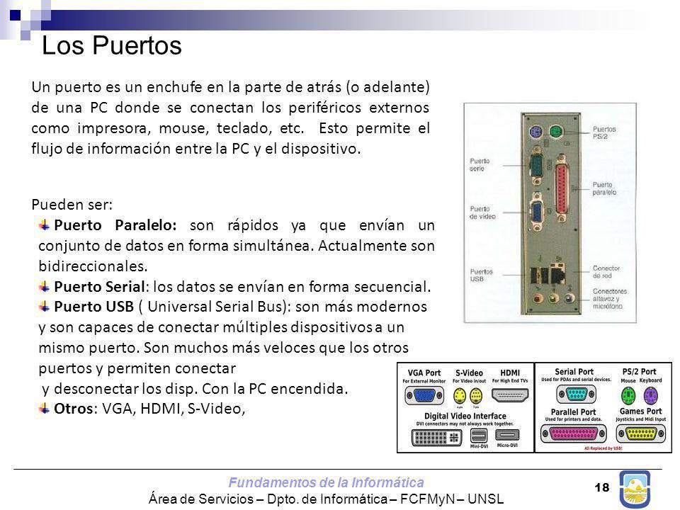 Fundamentos de la Informática Área de Servicios – Dpto. de Informática – FCFMyN – UNSL 18 Los Puertos Un puerto es un enchufe en la parte de atrás (o