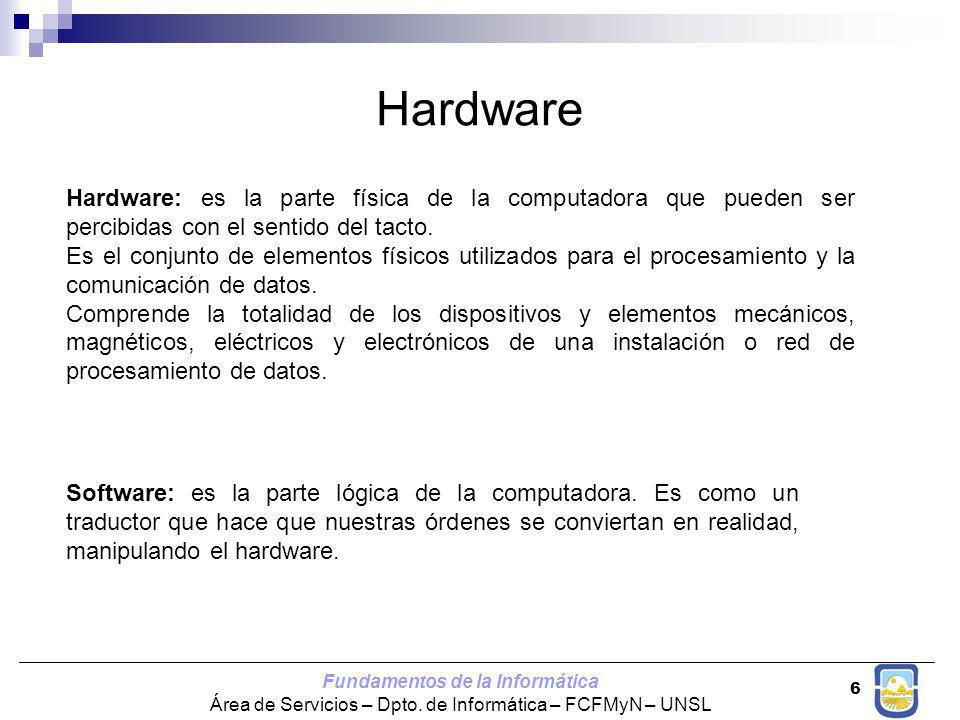 Fundamentos de la Informática Área de Servicios – Dpto. de Informática – FCFMyN – UNSL 6 Hardware Hardware: es la parte física de la computadora que p