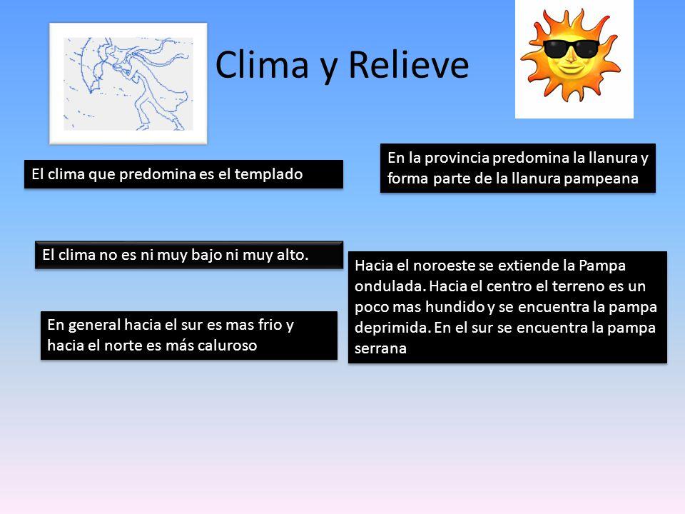 Clima y Relieve El clima no es ni muy bajo ni muy alto. El clima que predomina es el templado En general hacia el sur es mas frio y hacia el norte es