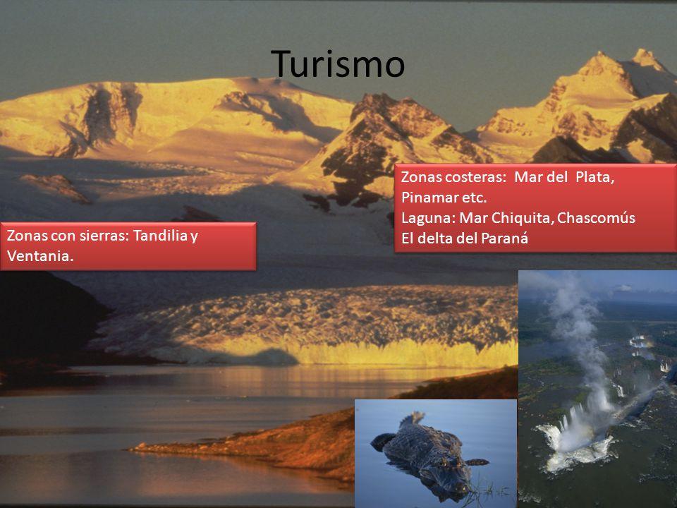 Turismo Zonas con sierras: Tandilia y Ventania. Zonas costeras: Mar del Plata, Pinamar etc. Laguna: Mar Chiquita, Chascomús El delta del Paraná Zonas